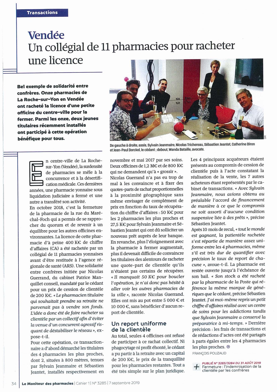 Article Moniteur regroupement de pharmacies à La Roche sur Yon